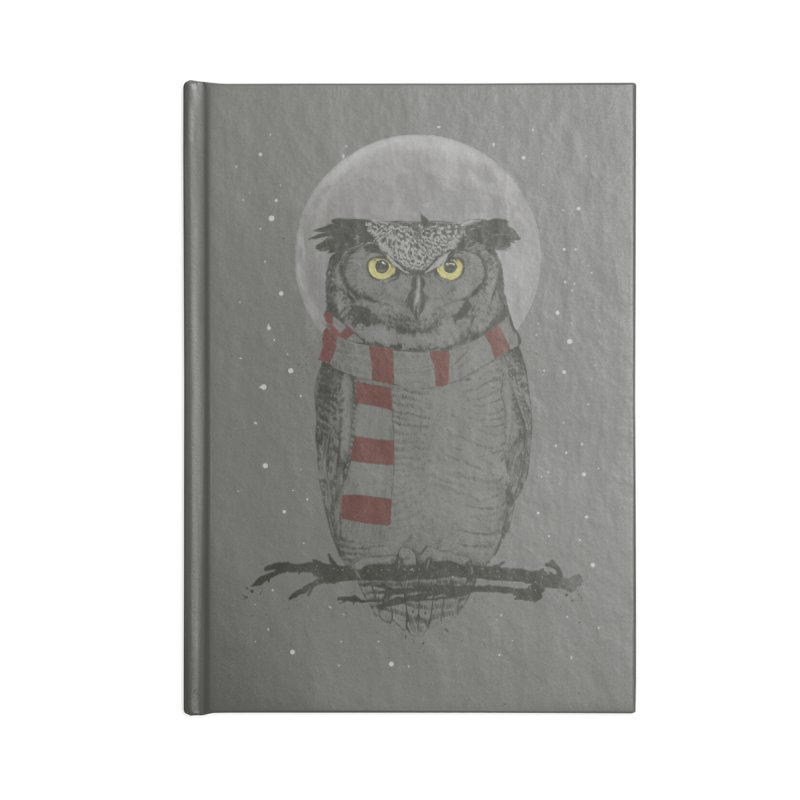 Winter owl Accessories Blank Journal Notebook by Balazs Solti