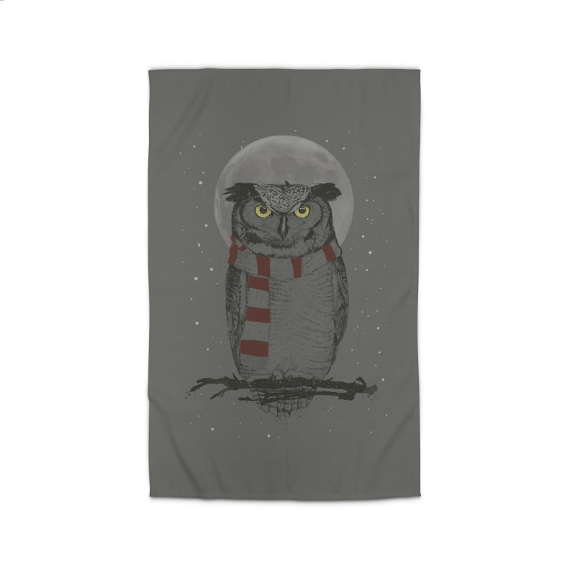 Winter owl Home Rug by Balazs Solti