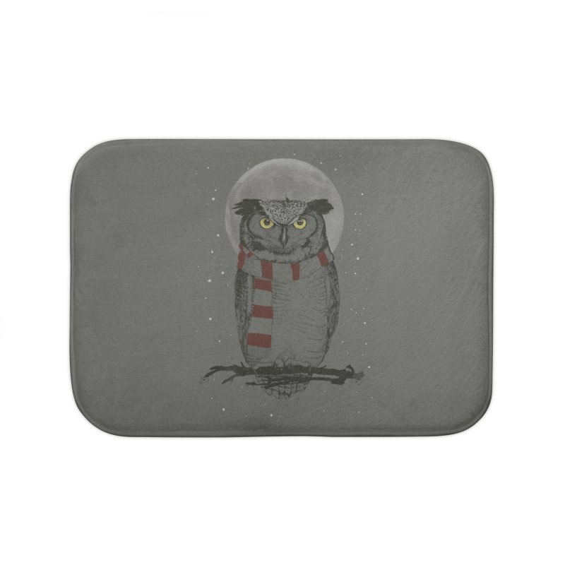Winter owl Home Bath Mat by Balazs Solti