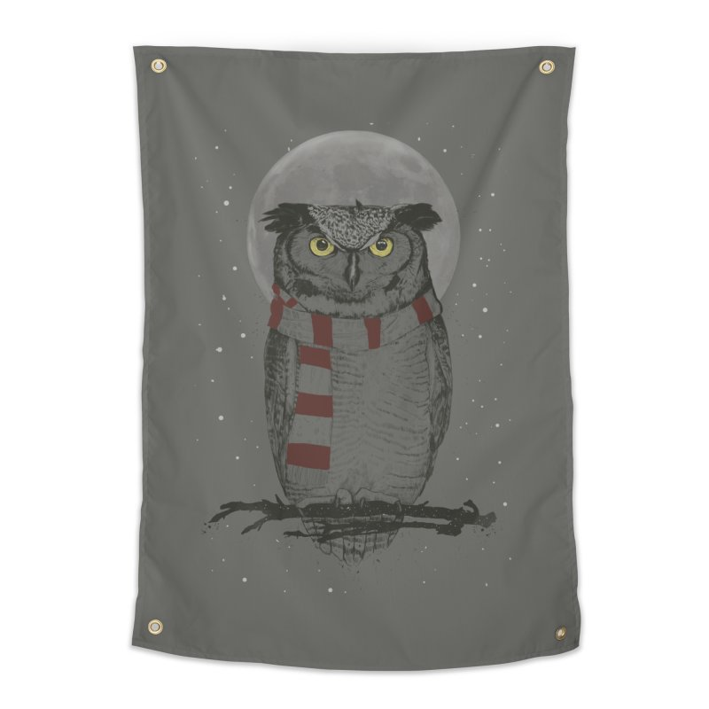 Winter owl Home Tapestry by Balazs Solti