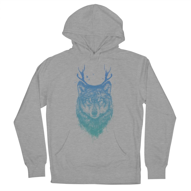 Deer wolf Men's French Terry Pullover Hoody by Balazs Solti