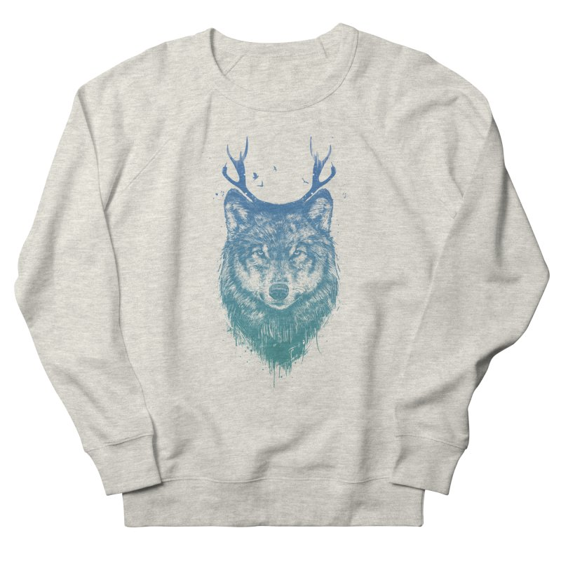 Deer wolf Men's French Terry Sweatshirt by Balazs Solti