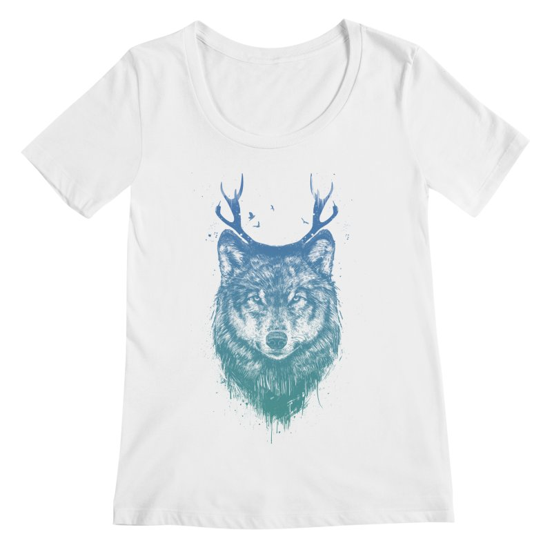 Deer wolf Women's Scoopneck by Balazs Solti