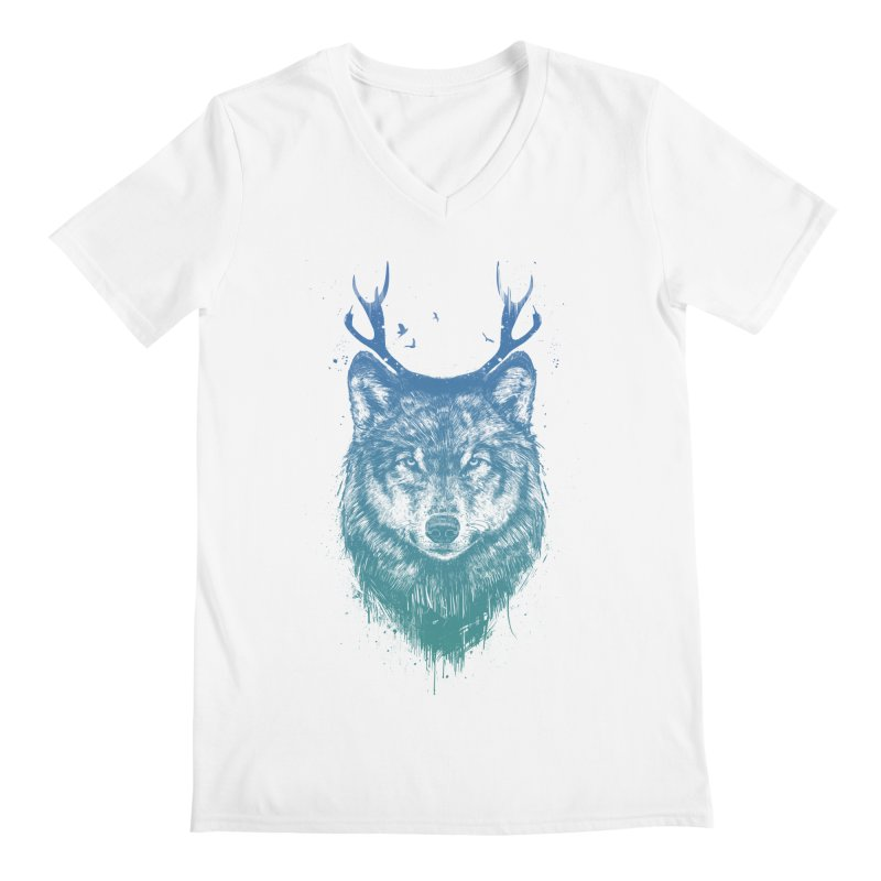 Deer wolf Men's V-Neck by Balazs Solti