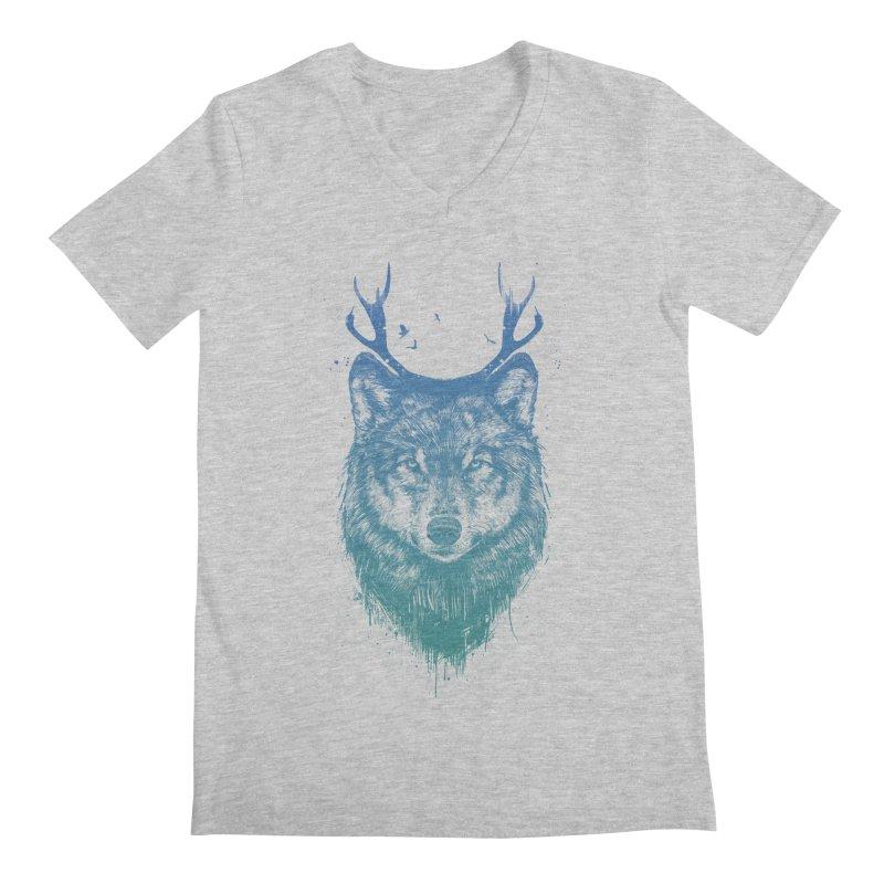 Deer wolf Men's V-Neck by Balazs Solti