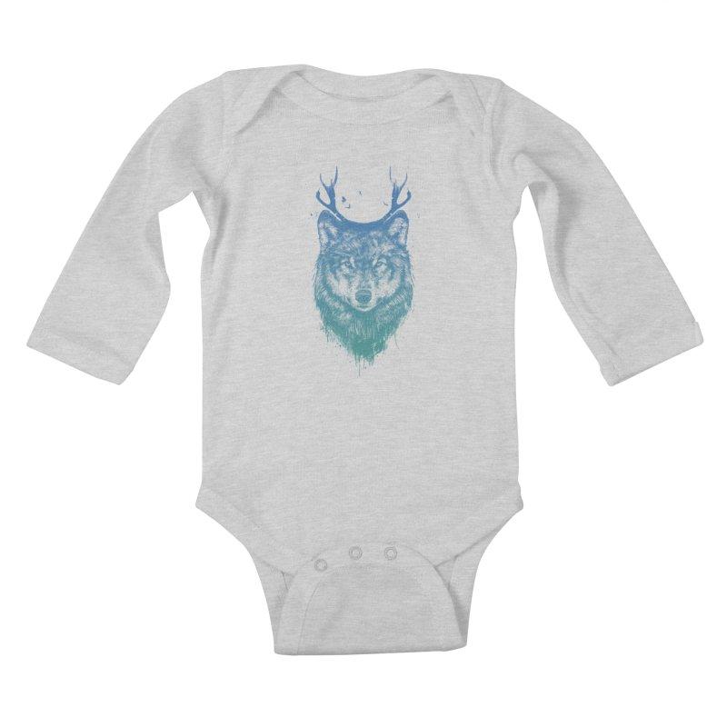 Deer wolf Kids Baby Longsleeve Bodysuit by Balazs Solti