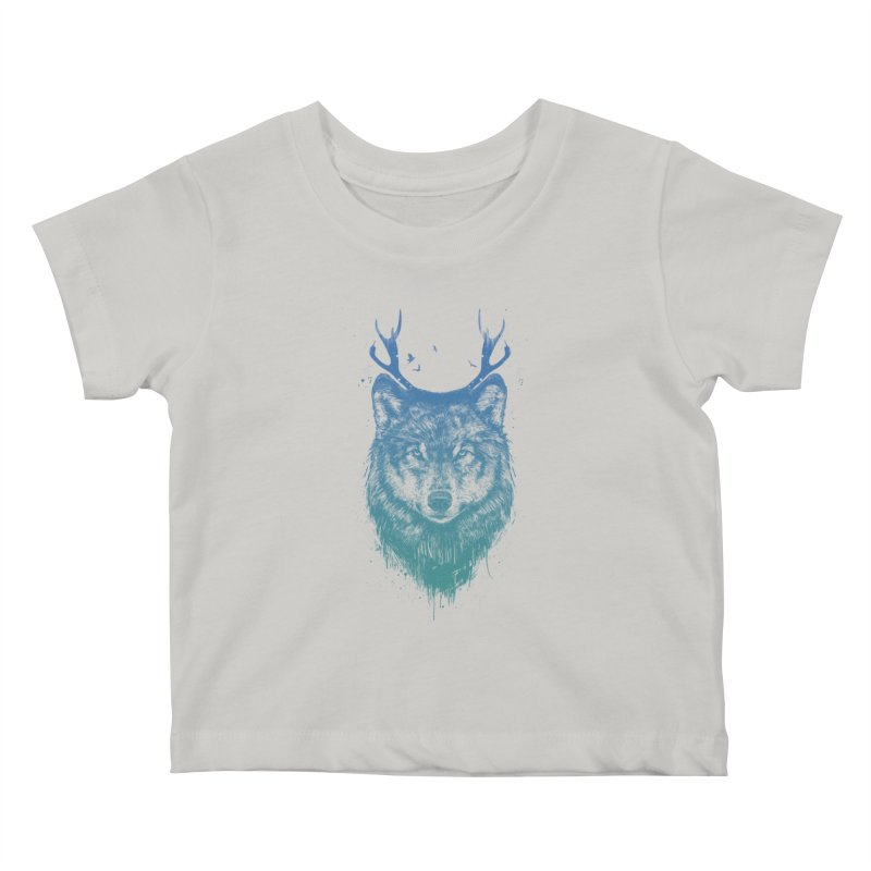 Deer wolf Kids Baby T-Shirt by Balazs Solti