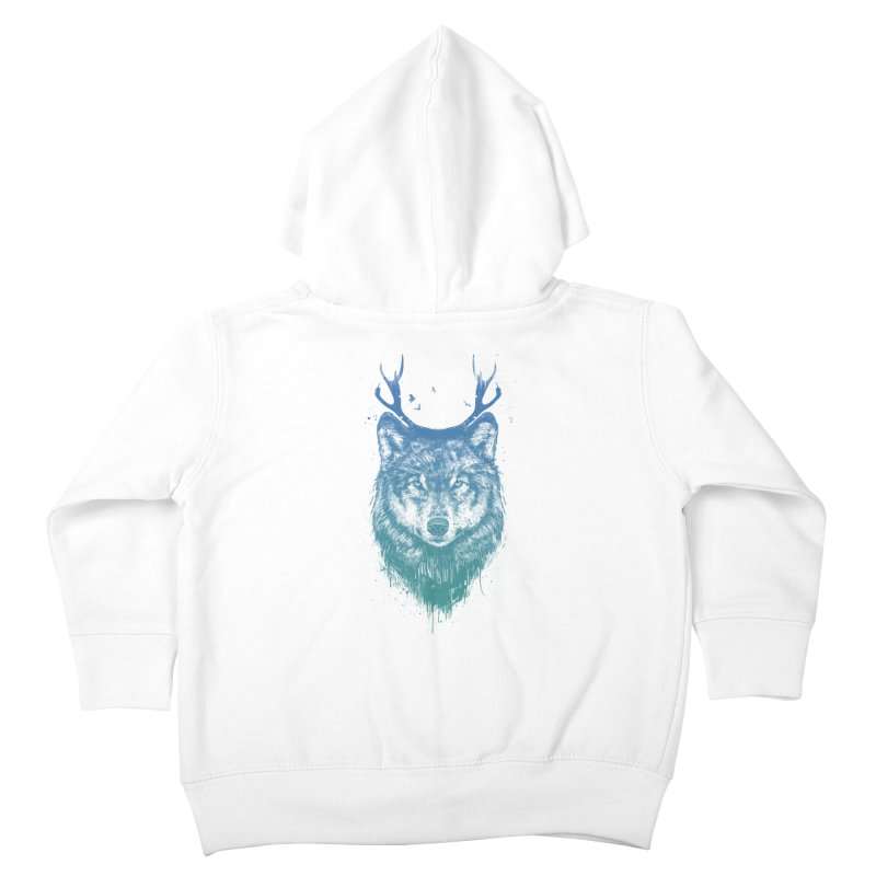 Deer wolf Kids Toddler Zip-Up Hoody by Balazs Solti