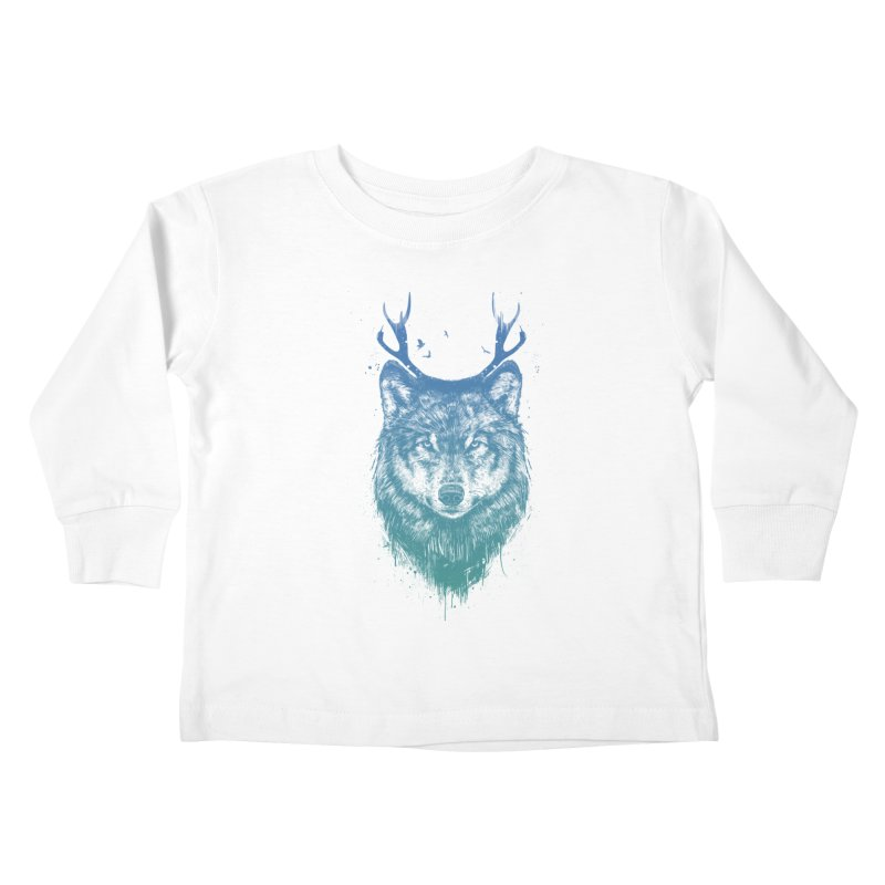 Deer wolf Kids Toddler Longsleeve T-Shirt by Balazs Solti