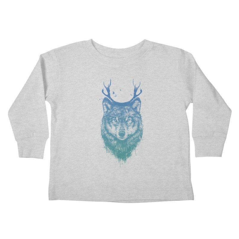 Deer wolf Kids Toddler Longsleeve T-Shirt by Balazs Solti