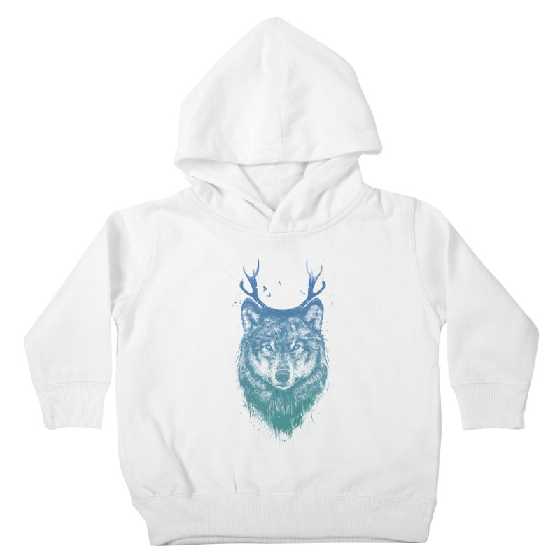 Deer wolf Kids Toddler Pullover Hoody by Balazs Solti