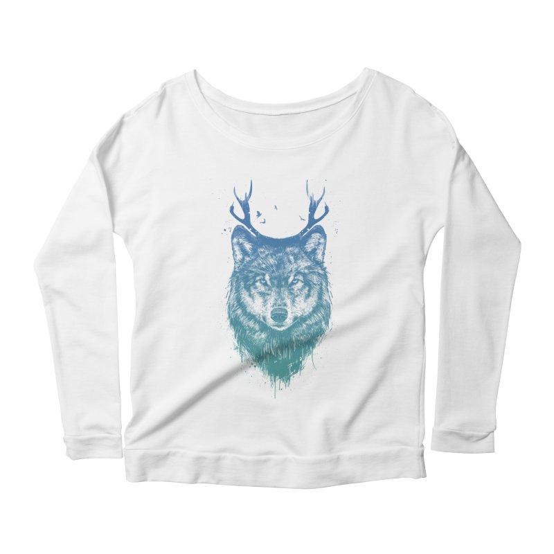 Deer wolf Women's Scoop Neck Longsleeve T-Shirt by Balazs Solti