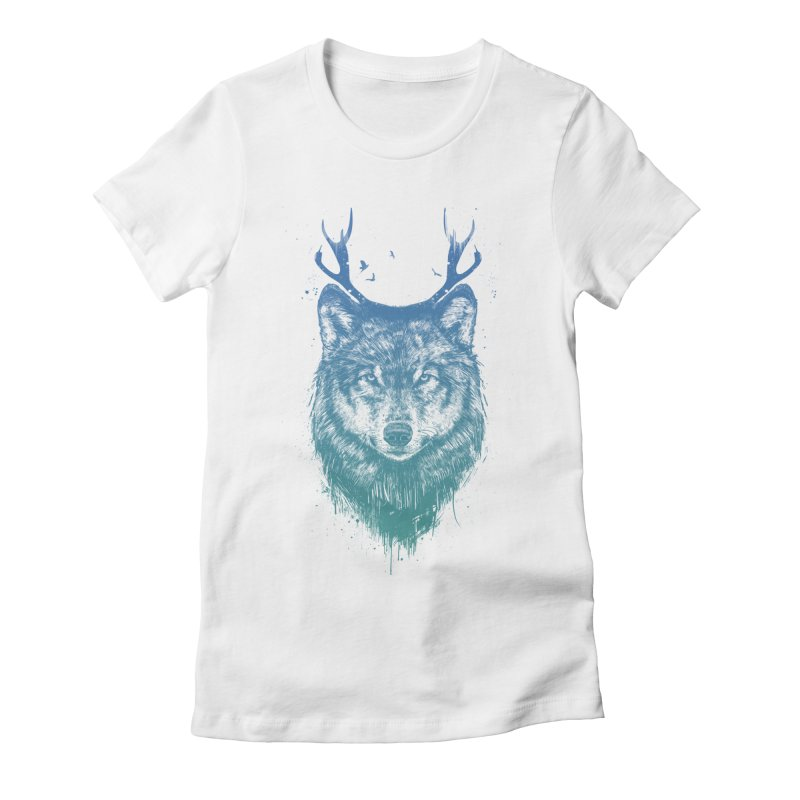 Deer wolf Women's Fitted T-Shirt by Balazs Solti