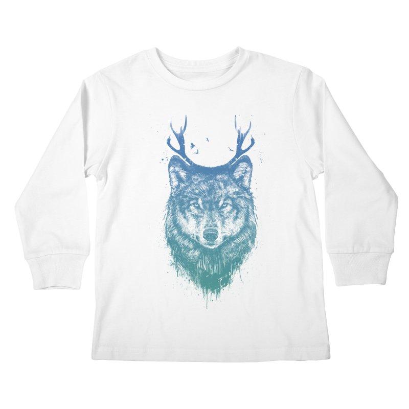 Deer wolf Kids Longsleeve T-Shirt by Balazs Solti