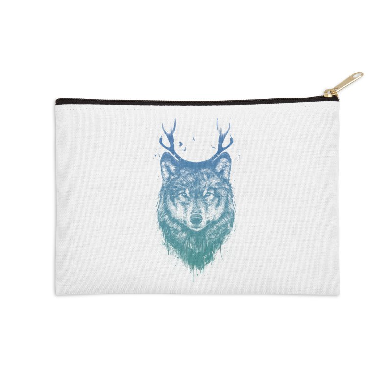 Deer wolf Accessories Zip Pouch by Balazs Solti