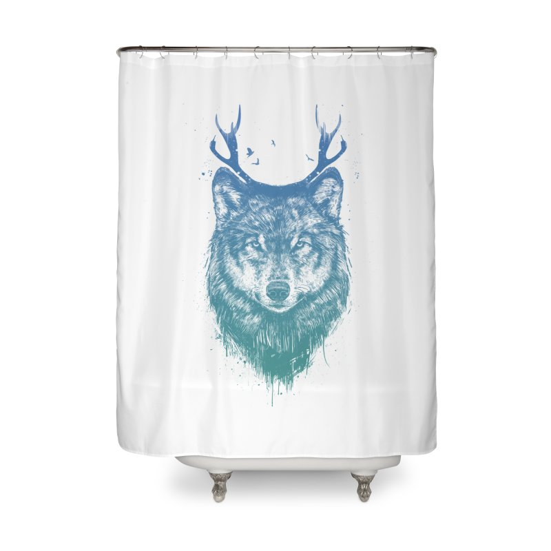 Deer wolf Home Shower Curtain by Balazs Solti