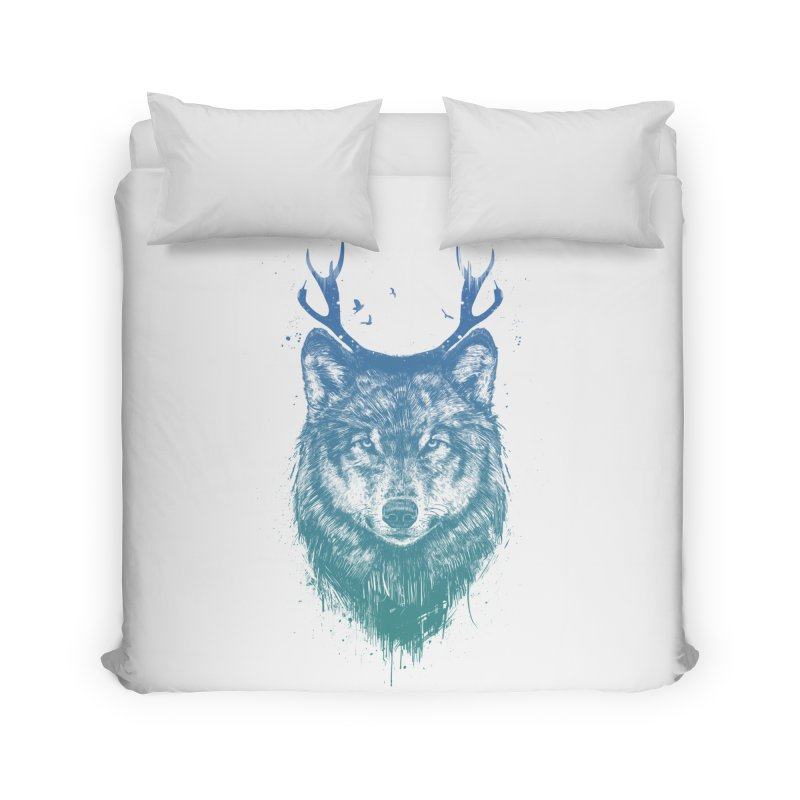 Deer wolf Home Duvet by Balazs Solti
