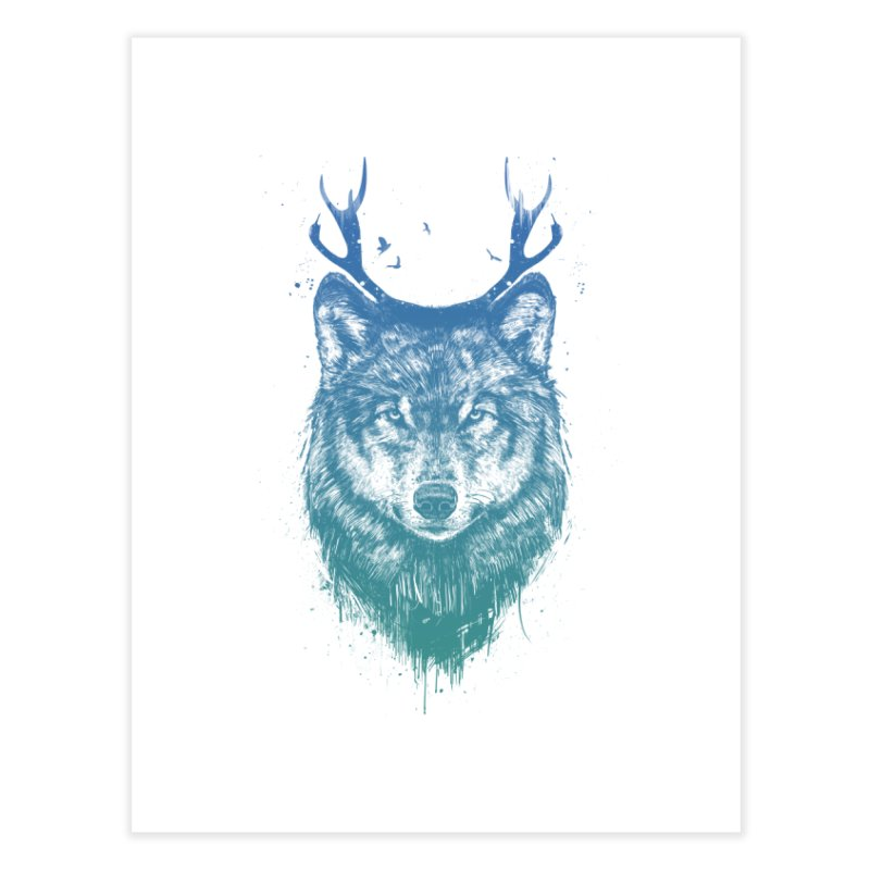 Deer wolf Home Fine Art Print by Balazs Solti