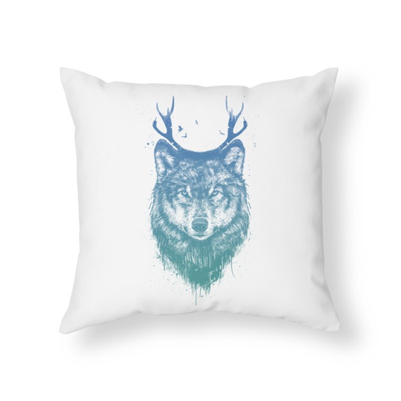 Deer wolf Home Throw Pillow by Balazs Solti