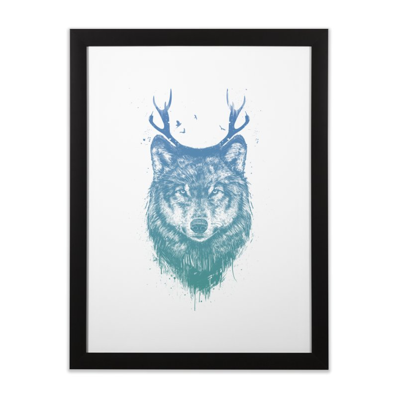 Deer wolf Home Framed Fine Art Print by Balazs Solti