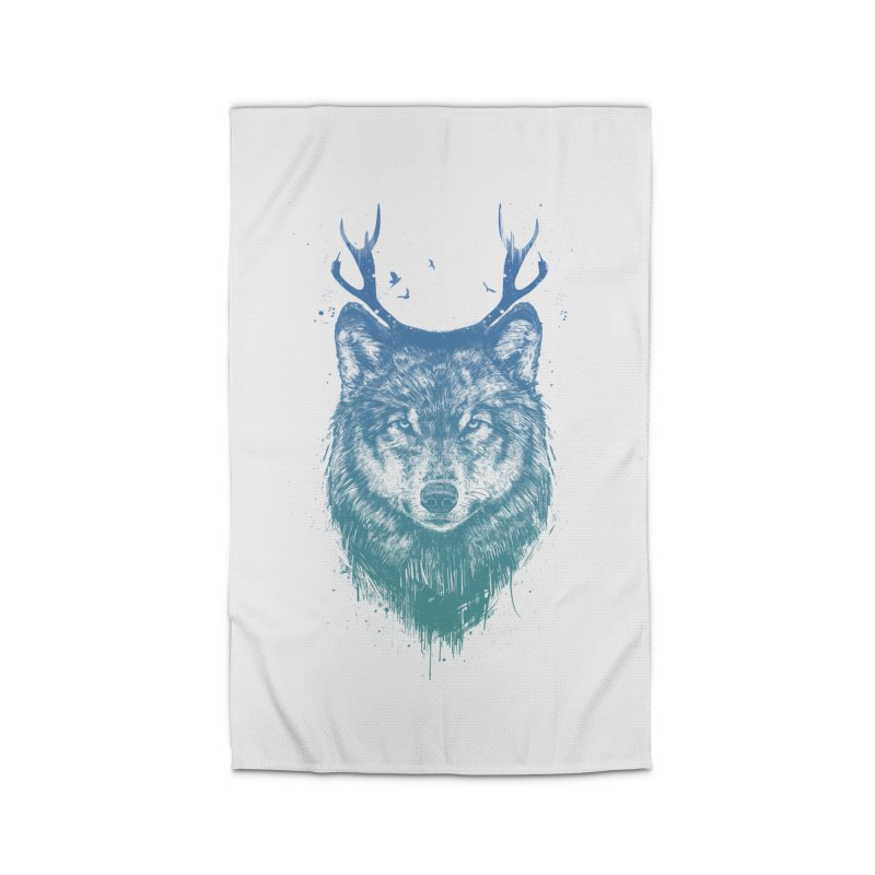 Deer wolf Home Rug by Balazs Solti