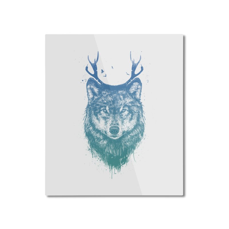 Deer wolf Home Mounted Aluminum Print by Balazs Solti