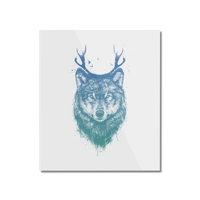 Deer wolf Home Mounted Acrylic Print by Balazs Solti