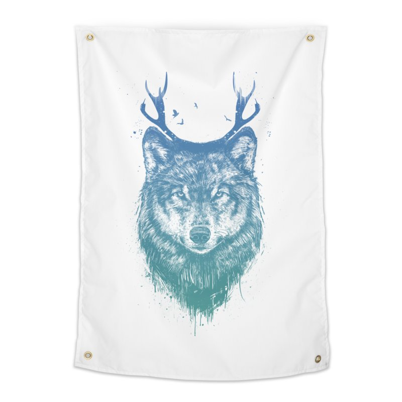 Deer wolf Home Tapestry by Balazs Solti