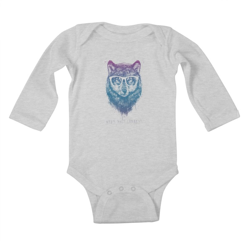 Who's your granny? Kids Baby Longsleeve Bodysuit by Balazs Solti