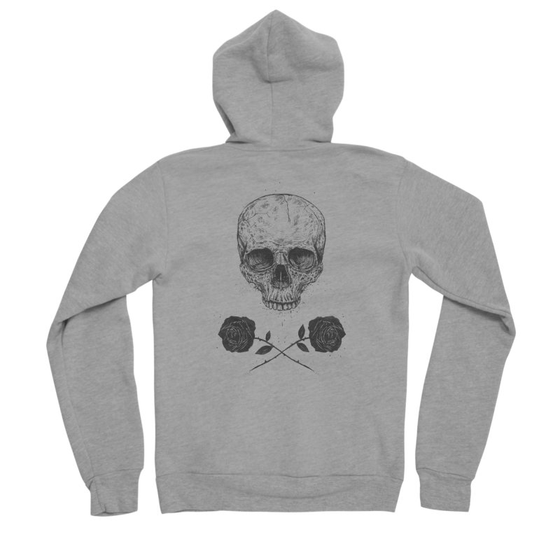 Skull N' Roses Men's Sponge Fleece Zip-Up Hoody by Balazs Solti