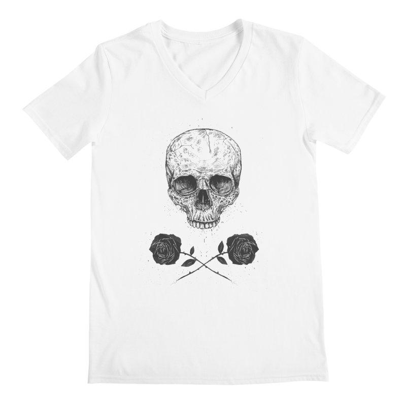 Skull N' Roses Men's V-Neck by Balazs Solti