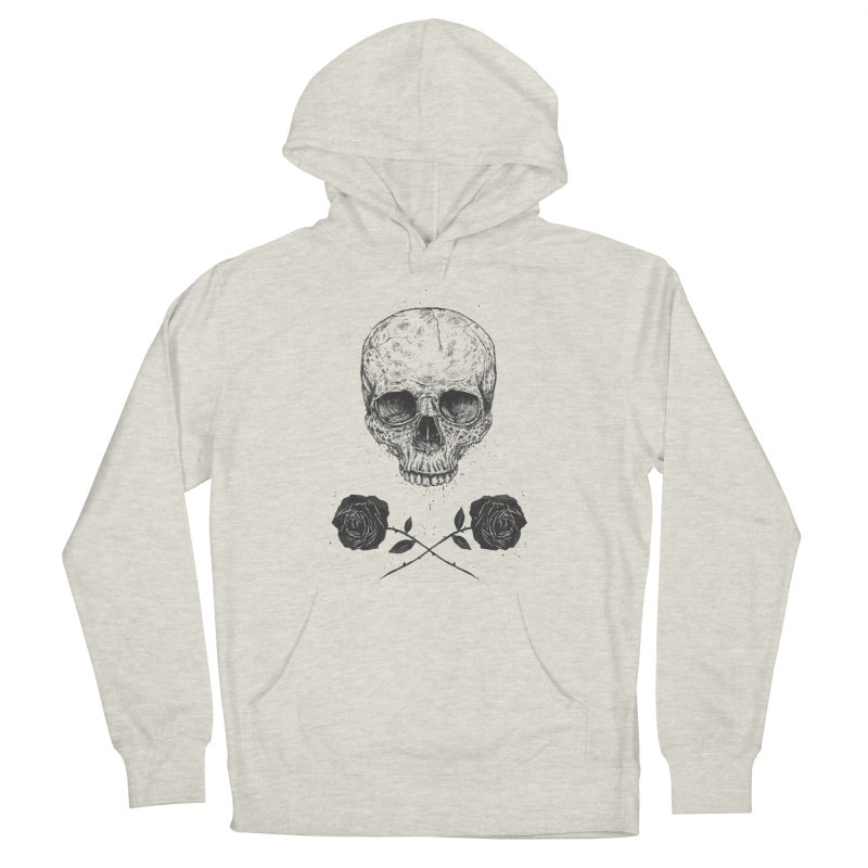 Skull N' Roses Women's French Terry Pullover Hoody by Balazs Solti