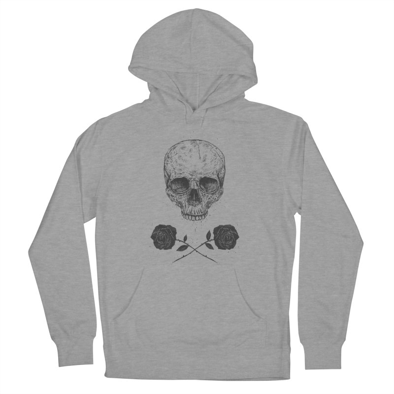 Skull N' Roses Men's French Terry Pullover Hoody by Balazs Solti