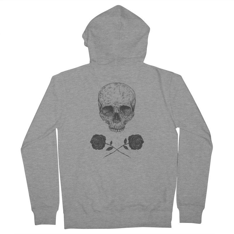 Skull N' Roses Men's Zip-Up Hoody by Balazs Solti