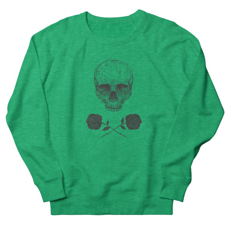 Skull N' Roses Women's French Terry Sweatshirt by Balazs Solti