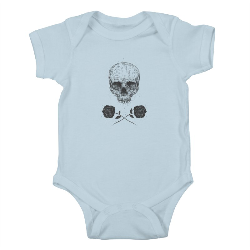 Skull N' Roses Kids Baby Bodysuit by Balazs Solti