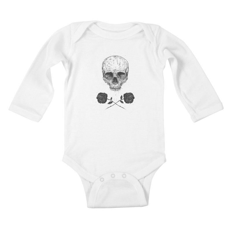Skull N' Roses Kids Baby Longsleeve Bodysuit by Balazs Solti