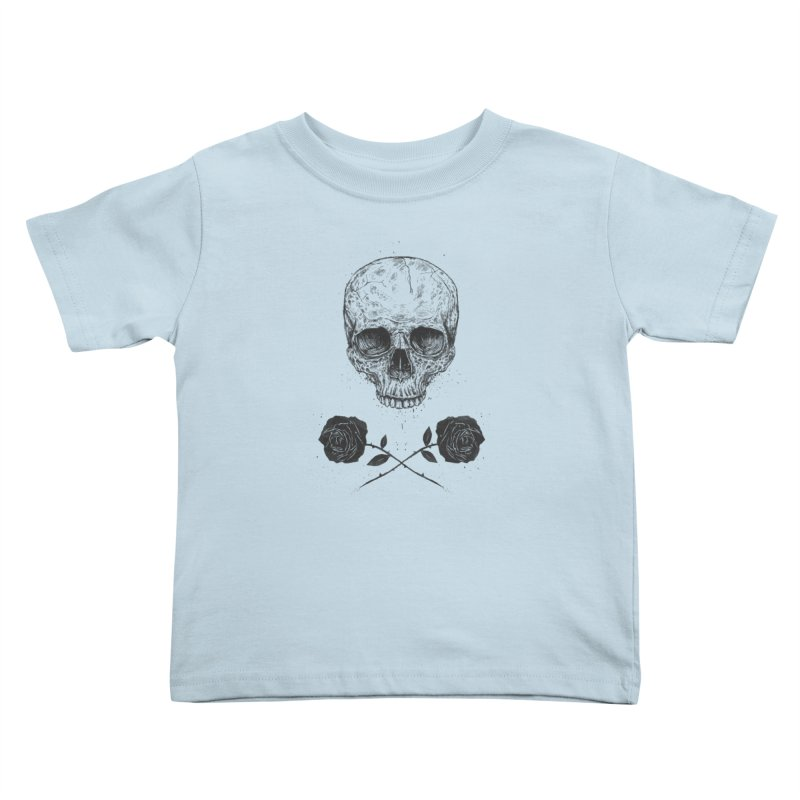 Skull N' Roses Kids Toddler T-Shirt by Balazs Solti