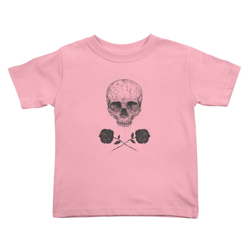 Skull N' Roses Kids Toddler T-Shirt by Balazs Solti