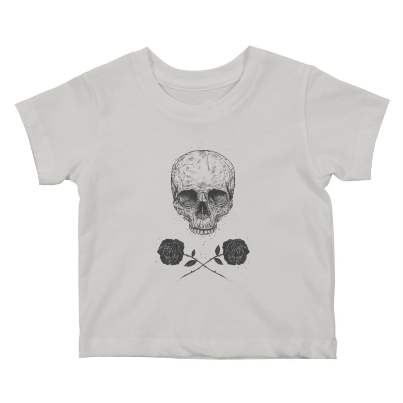 Skull N' Roses Kids Baby T-Shirt by Balazs Solti