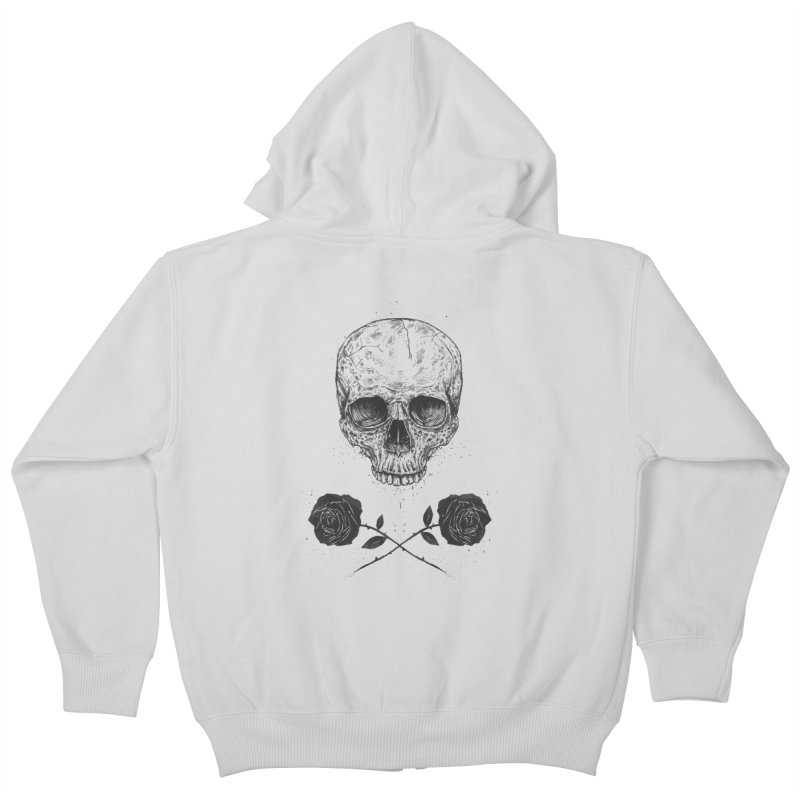 Skull N' Roses Kids Zip-Up Hoody by Balazs Solti