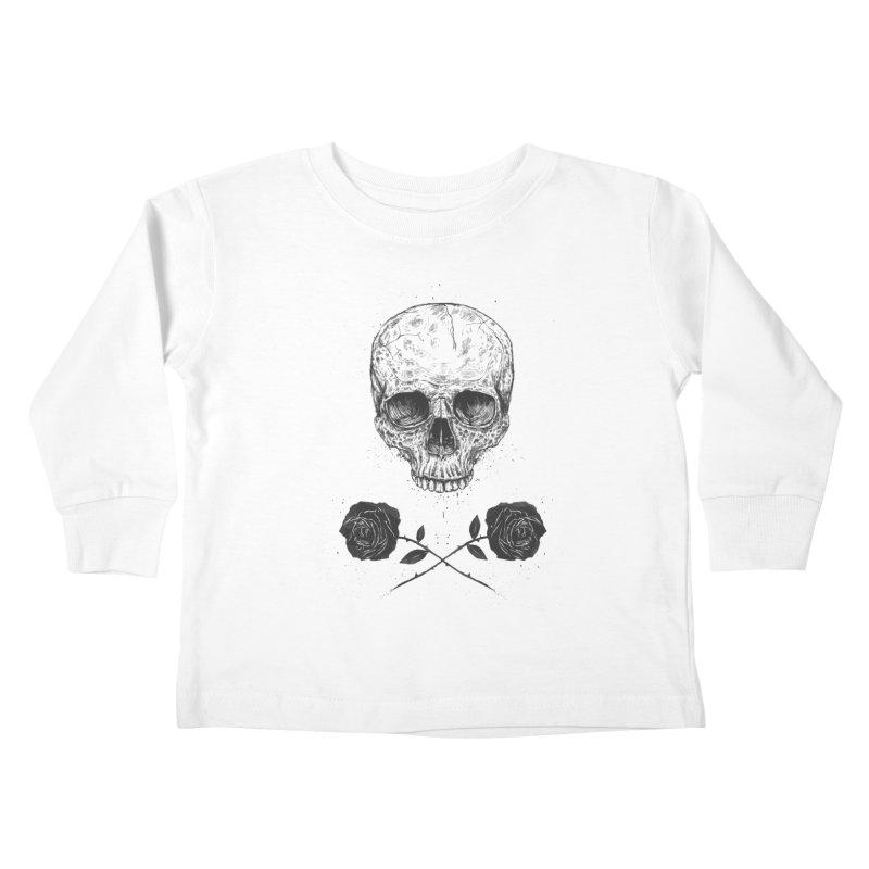 Skull N' Roses Kids Toddler Longsleeve T-Shirt by Balazs Solti