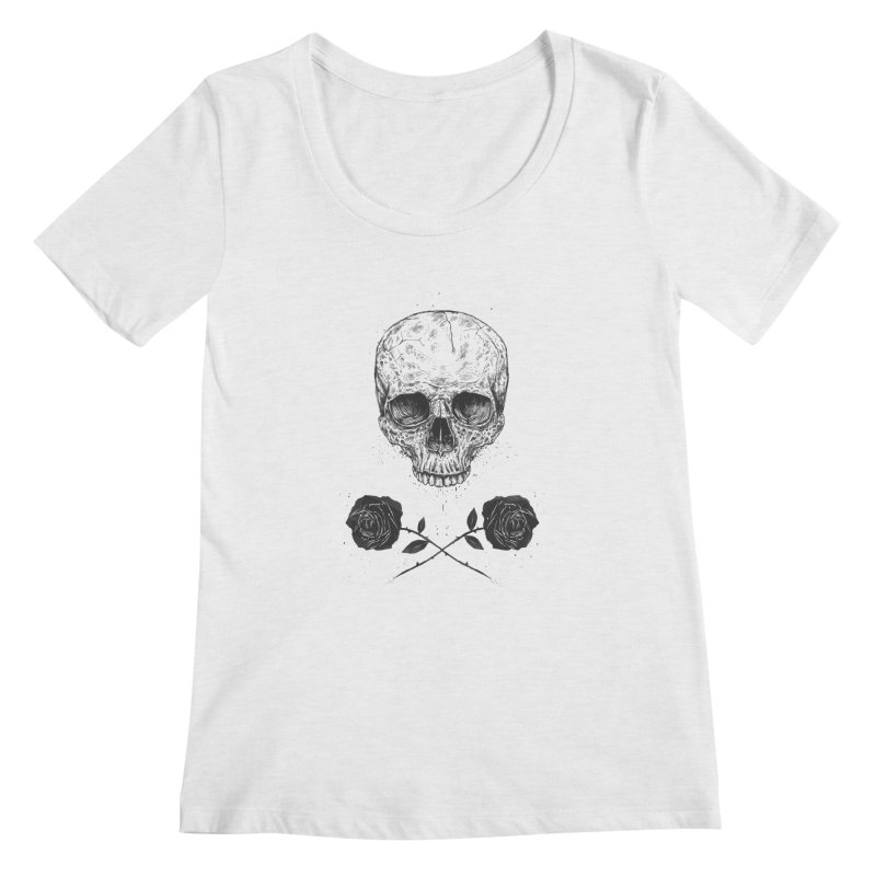 Skull N' Roses Women's Scoopneck by Balazs Solti