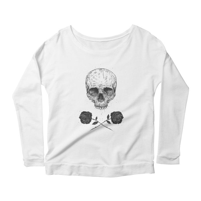 Skull N' Roses Women's Longsleeve Scoopneck  by Balazs Solti