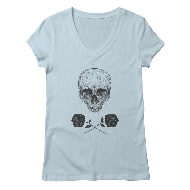 Skull N' Roses Women's V-Neck by Balazs Solti