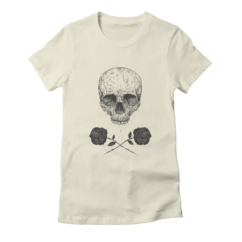 Skull N' Roses Women's Fitted T-Shirt by Balazs Solti