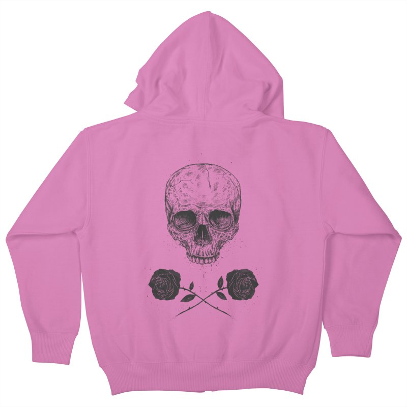 Skull N' Roses Kids Zip-Up Hoody by Balazs Solti