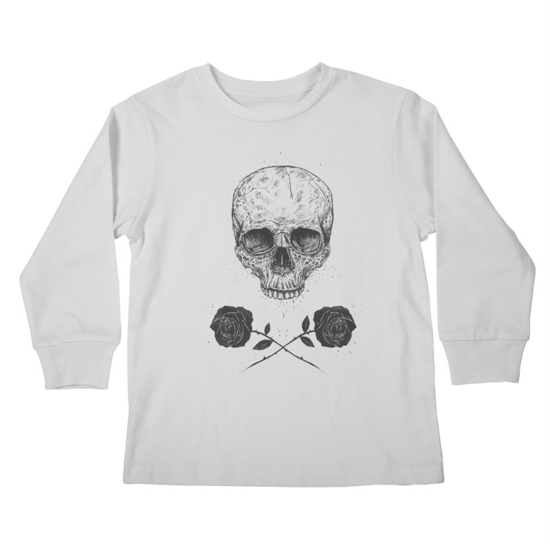 Skull N' Roses Kids Longsleeve T-Shirt by Balazs Solti