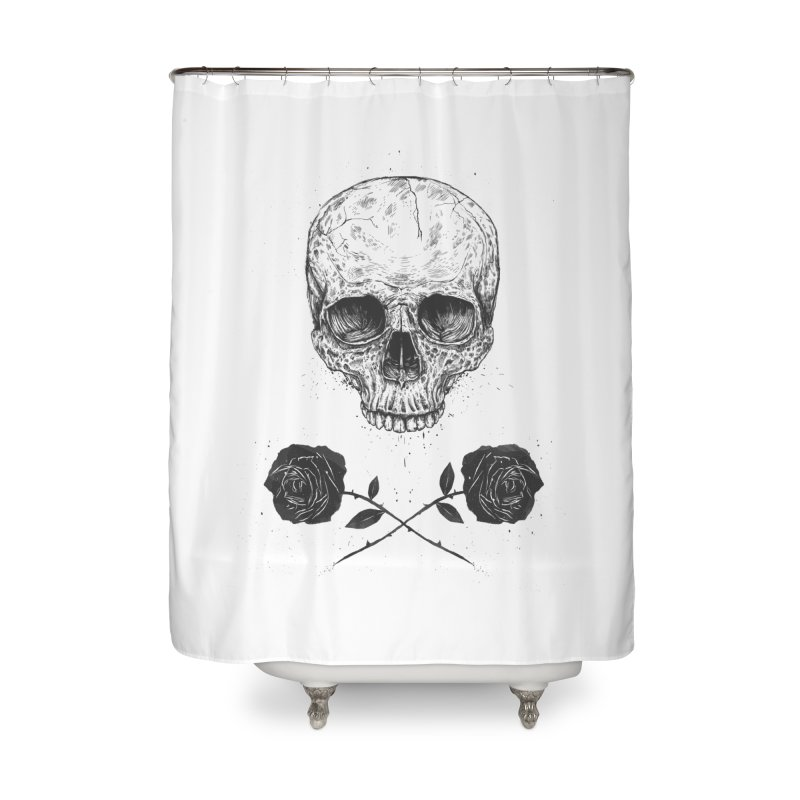 Skull N' Roses Home Shower Curtain by Balazs Solti