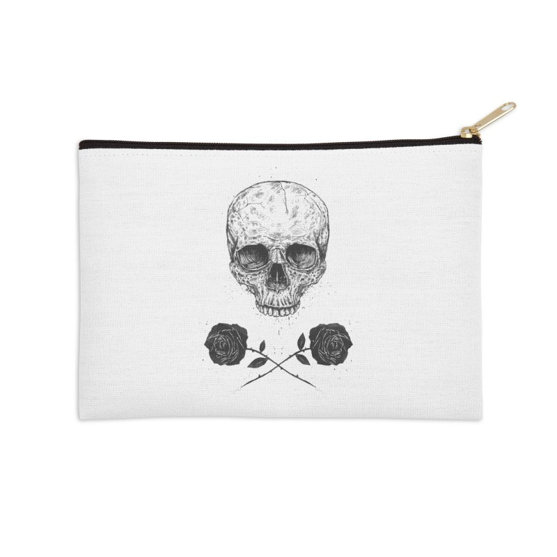 Skull N' Roses Accessories Zip Pouch by Balazs Solti